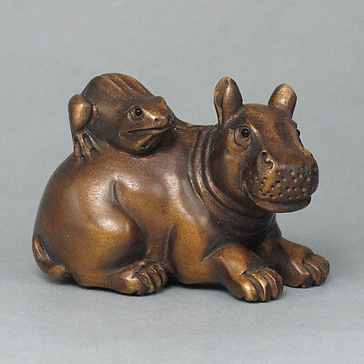 Japanese 1940's Netsuke Boxwood Wood Handicrafts Frog on Hippo Carving WN249