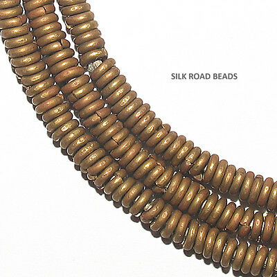 7.5 inches hand made patinated brass heishi beads kenya african trade 4mm #154f