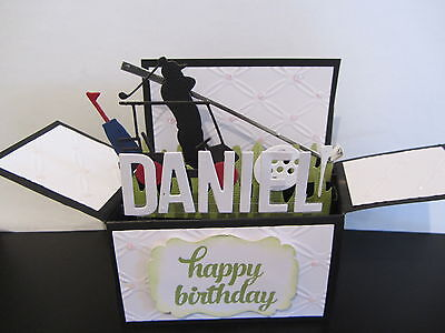 Handmade  3D  Birthday Card in a box -Golf 2, PERSONALISED