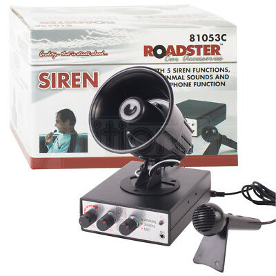 12V Car 5 Loud Air Siren Horn Klaxon 5 Animal Funny Novelty Noises & Microphone