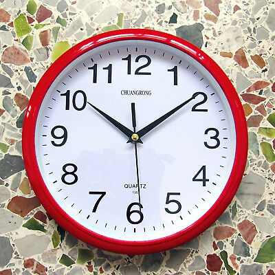 Red Classic Elegant Wall Clock Silent NonTicking Super High Quality ABS Material