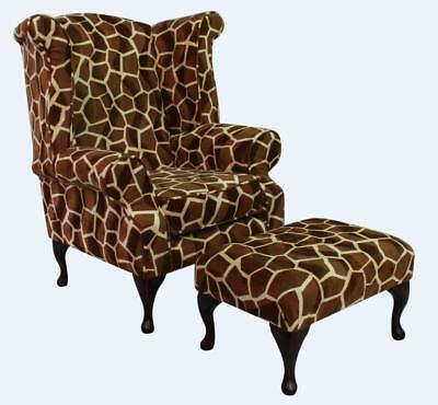 Chesterfield Arnold Queen Anne High Back Animal Print Wing Chair Little Giraffe