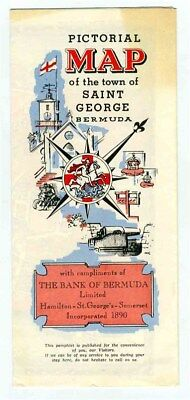 Pictorial Map of the Town of Saint Georges Bermuda 1960's