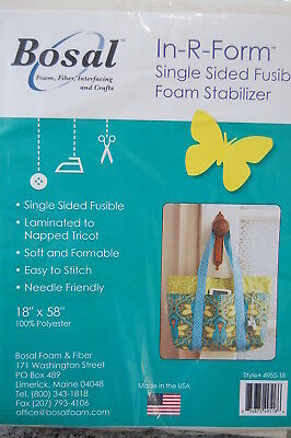 "Bosal In-R-Form Single/Double Fusible Foam Stabilizer 18""x58"" Bag Making/Crafts"