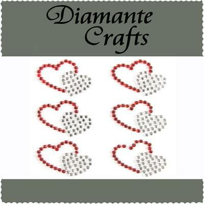 6 x Red & Clear Diamante Double Hearts Rhinestone Vajazzle Body Art Gems