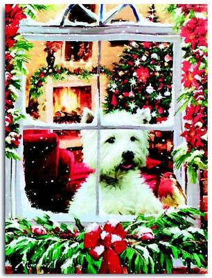 40x30cm Scottie Dog Christmas LED Canvas Print - PREMIER