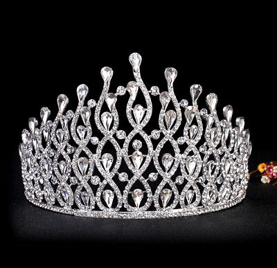 11cm High Large Full Crystal Adult Wedding Bridal Party Pageant Prom Tiara Crown
