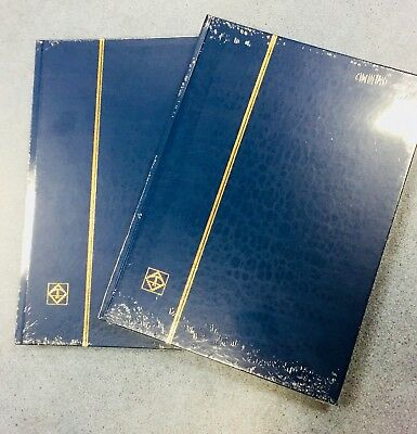 x2 BLUE** PREMIUM A4* STAMP ALBUM STOCKBOOKS -8 Pages/ 16sides ~WHITE PAGES