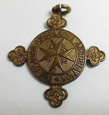 Authentic Brass St Johns Ambulance Association Cross Shaped Medallion Inscribed