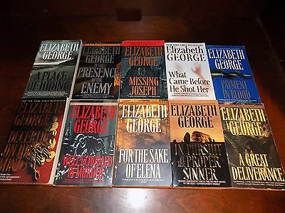 Lot of 10 Elizabeth George books - paperback