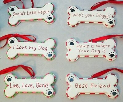 "Home Is Where Your Dog Is Dog Bone Red White Ornament Porcelain Set 6 3"" Gift"