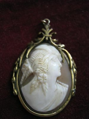 Nice Face Victorian Shell Cameo Pendant, Feathers in Hairdo, Floral Rolled Gold