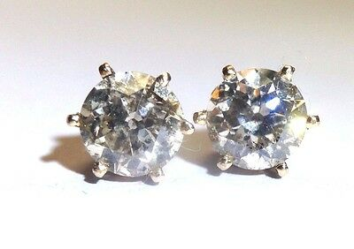 Antique Victorian 2.11CTW European Cut Diamond Earring Studs 14K Rose Gold