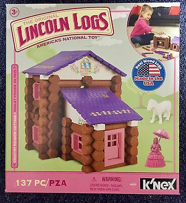 New Knex LINCOLN LOGS Country Meadow Cottage 137 Pieces Building Toys