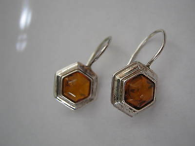 Sterling Silver Wire Hook Earrings, DETRITIS TRAPPED AMBER Hexagonal Domes LQQK!