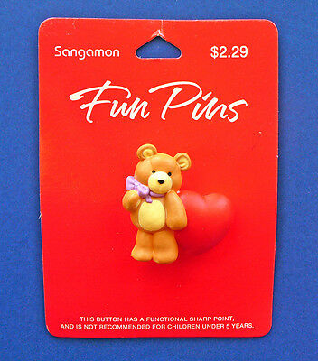 BUY1&GET1@50%~Sangamon PIN Valentines MOC BEAR Teddy with Lrg HEART Vtg Brooch