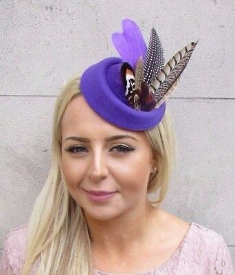 Purple Brown Pheasant Feather Pillbox Hat Hair Fascinator Races Clip Vtg 4118