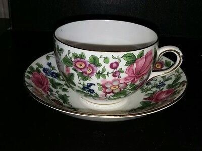 Crown Staffordshire Thousand Flowers Cup and Saucer  2.