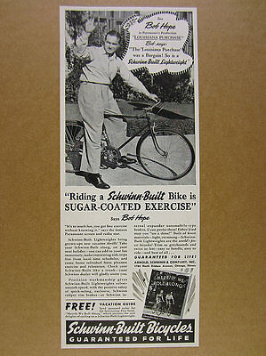 1941 Schwinn Bicycle Bob Hope riding Lightweight Bike photo vintage print Ad