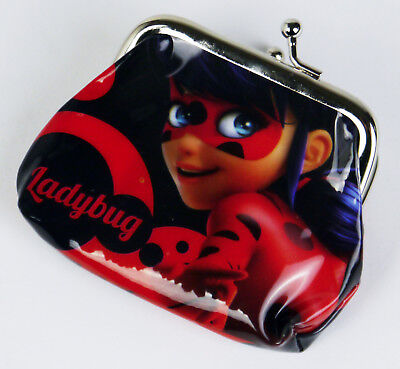 Miraculous Lady Bug Coin Purse With Metal Clasp Pouch Bag Pvc Kids Girls