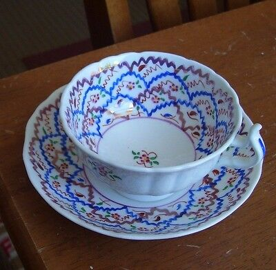 Gaudy Welsh Garland Pattern Cup And Saucer