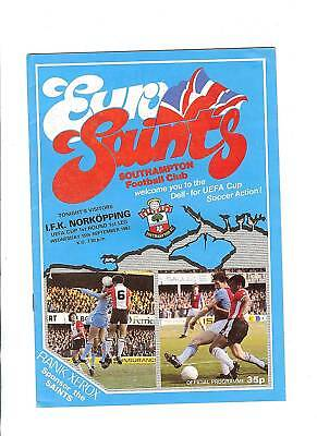 Southampton v IFK Norkopping UEFA Cup Football Programme1982/83