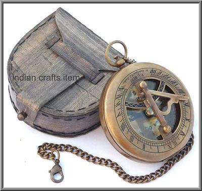 Brass Sundial Compass With Chain & Leather Case