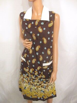 Vintage Brown Paisley Floral Noisy Nylon Overall Apron Sleeveless Dress Large