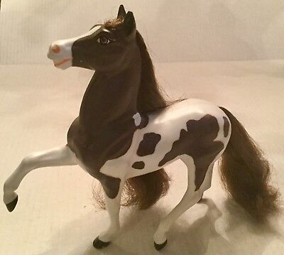 Reeves Breyer White/Brown Plastic Mold Horse Hair Mane & Tail