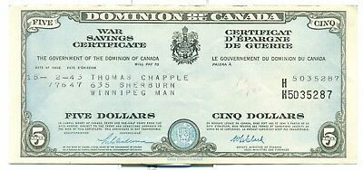 Dominion of Canada 1943 $5 War Savings Certificate Extra Fine