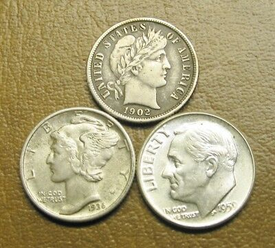 Three (3) Diff Type Silver Dimes, 1902 Barber, 1936 Mercury And 1959 Roosevelt,