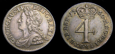 Great Britain 1760 George II Four Pence Groat S-3712A VF+