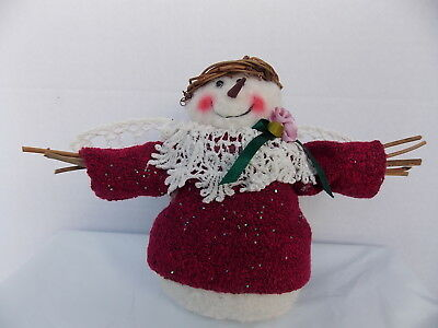 Snowman Angel, Lace Wings And Collar, Rosette, Burgandy Dress, Halo