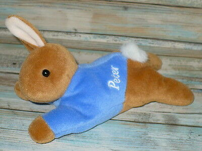 "Eden PETER RABBIT Laying Down BEAN BAG Plush Stuffed Animal BABY LOVEY 7"" long"