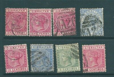 GIBRALTAR - Queen Victoria USED stamp collection for postmarks/study