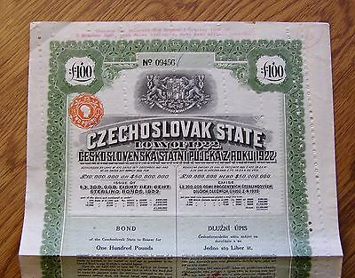 h299 Czechoslovakia 1922 State £ 100 Pounds Bond Loan Share Stock with Coupons