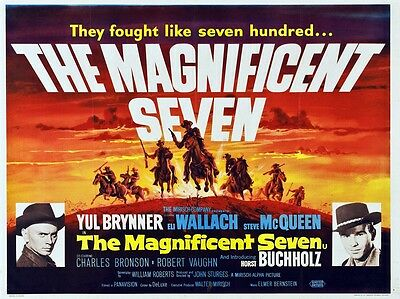 The Magnificent Seven (Yul Brynner/Steve McQueen) Movie/Film Print/Poster (d492)