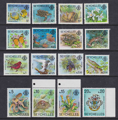 Seychelles 1977 Mint MNH Definitives 16 values Nature Birds Turtles Flowers Bats