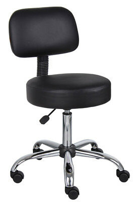Commercial Grade Black Vinyl Medical Dental Tattoo Salon Stools Chairs With Back