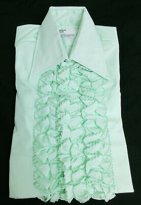 Vintage Green Ruffle Front Tuxedo Shirt 1970's Prom Disco Halloween Costume