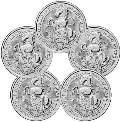 Lot of 5 - 2018 Britain 2 oz Silver Queen's Beasts Unicorn of Scotland SKU49476