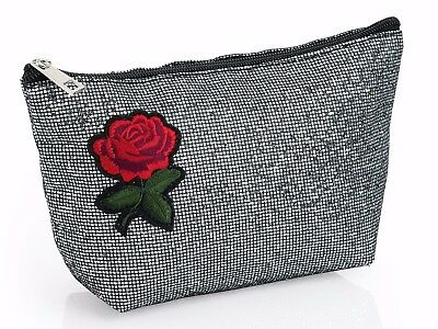 Make up BAG Cosmetic purse Silver glitter sequin embroidered Rose motif Zip top