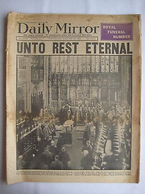1936 Daily Mirror London Edition (Unto Rest Eternal) Funeral Of King George
