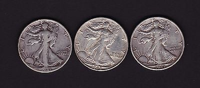 United States 1941 S, 1942 S, & 1943 S Half Dollar Silver Coins