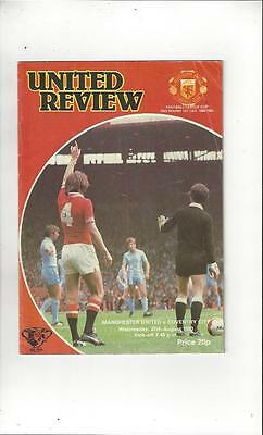 Manchester United v Coventry City League Cup 1980/81 Football Programme