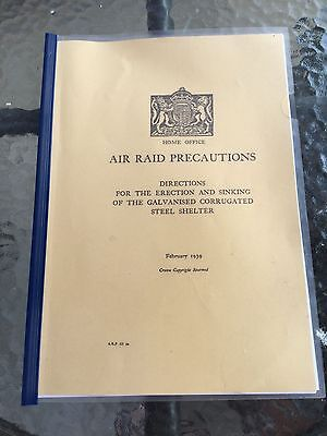 WW2 Home Front Air Raid Anderson Bomb Shelter Erection Manual Book