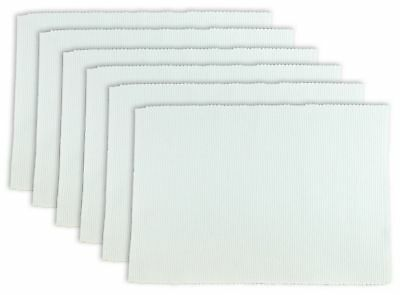 "DII 100% Cotton Ribbed 13x 19"" Everyday Basic Placemat Set of 6 White New"