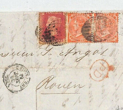 BL29 1864 GB *LATE FEE* 1d Paid DESTINATION MAIL France Cover SG.80 cat £300+140