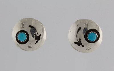 Native American Navajo Indian Sterling Silver Turquoise Shadow Box Post Earrings