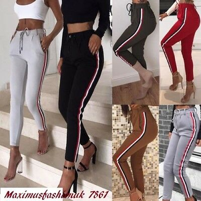 New Womens Casual Striped Pants Elastic High Waist Cropped Length OL Trousers